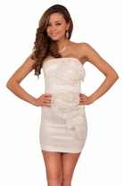 Strapless White Fitted Tube Mini Club Wear Party Sexy Rose Detail Dress