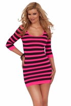 Striped Mini Spandex Seamless Bodycon Bodice Fitted Tight Sexy Party Dress
