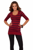 Stripped 3/4 Sleeves Sexy Sweater Dress Top Pockets Fitted Casual Cardigan