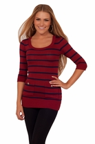 Stripped Junior Sweater Winter Cardigan Pockets Mini Round Neck Evening Dress