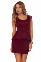 Studded Shoulder Party Fitted Mini Cocktail Special Occasion Peplum Dress