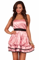 Sweet Strapless Princess Contrast Layered Satin Pick Up Bubble Skirt Party Dress