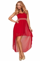 Sweetheart Strapless Fitted Bodice Sheer High Low Bead Crystal Embellished Dress
