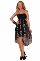 Sweetheart Strapless Side Cut Out Panels Chevron Print Cocktail High Low Dress