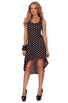 Tank Style Scoop Neck Razor Back Polka Dot Comfortable Casual High Low Dress