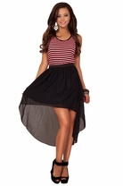 Tank Style Sleeveless Razorback Stripe High Low Asymmetrical Bottom Casual Dress