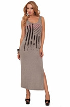 Tank Style Sleeveless Scoop Neck Graphic Design Loose Oversize Long Maxi Dress