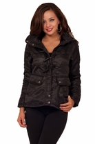 Trendy Women's Winter Eskimo Chic Faux Lined Faux Leather Horn Button Jacket
