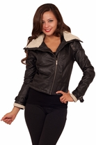 Trendy Women's Winter Fall Chic Style Faux Fur Lined Faux Leather Buckle Jacket