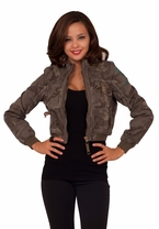 Army Style Long-Sleeve Metal Sequin Cropped Denim Style Blazer Embroider Jacket
