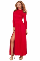 Turtle Neck Spiky Studs Shoulder Pad Long Sleeve Slit Party Sexy Maxi Long Dress
