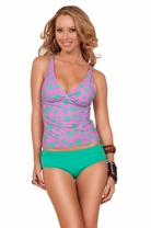 V-Neck Halter Hight Waist Boy Shorts Slimming Bathing Suit Tankini Swimsuit