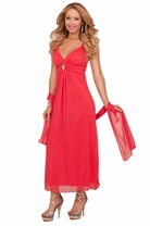 V-neck Padded Cups Empire Waist Rhinestone Accent Bridesmaid Formal Long Dress