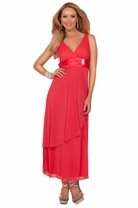 V-neck Sleeveless Empire Waist Rhinestone Broche Bridesmaid Formal Long Dress