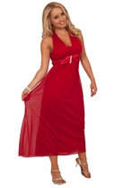 V Neck Sleeveless Halter Long Length Sheer Rhinestone Empire Waist Party Dress