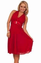 V Neck Sleeveless Halter Sheer Rhinestone Empire Waist Knee Length Party Dress