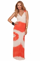 V-neck Sleeveless Twisted Back Strap Empire Waist Summer Beach Long Maxi DRess