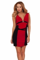 V Neckline Ruched Belted Sexy Rhinestone Bust Party Cocktail Clubwear Dress