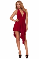 Women Halter Backless Empire Waist High Low Party Evening Cocktail Short Dress