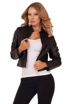 Women's High Round Collar Chic Cropped Girly Rock Chic Faux Leather Moto Jacket