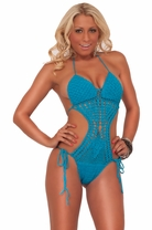Womens Adjustable Halter Ties Hand-made One Piece Crocheted Monokini Swimsuit