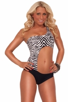 Womens Sexy One Piece Body Conforming Assymetrical Monokini Swimsuit Swimwear