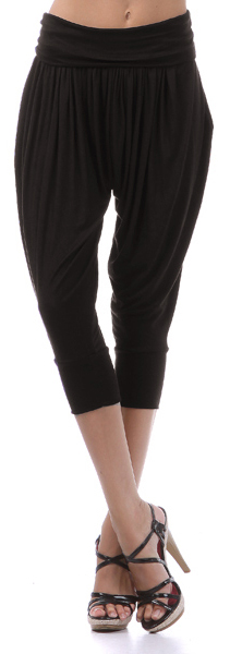 Womens Urban Black Harem Casual Evening Cropped Pants