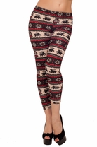 Womens Winter Patterned Long Stretch Plush Fleece Feeling Soft Trendy Leggings
