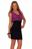 Work Pencil Skirt Pleated Sexy Deep V Neckline Women's Party Cocktail Dress