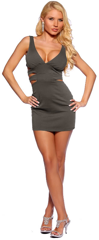 Zig-Zag Side Cut Out Sexy Designer Hot Clubwear Party Mini Dress