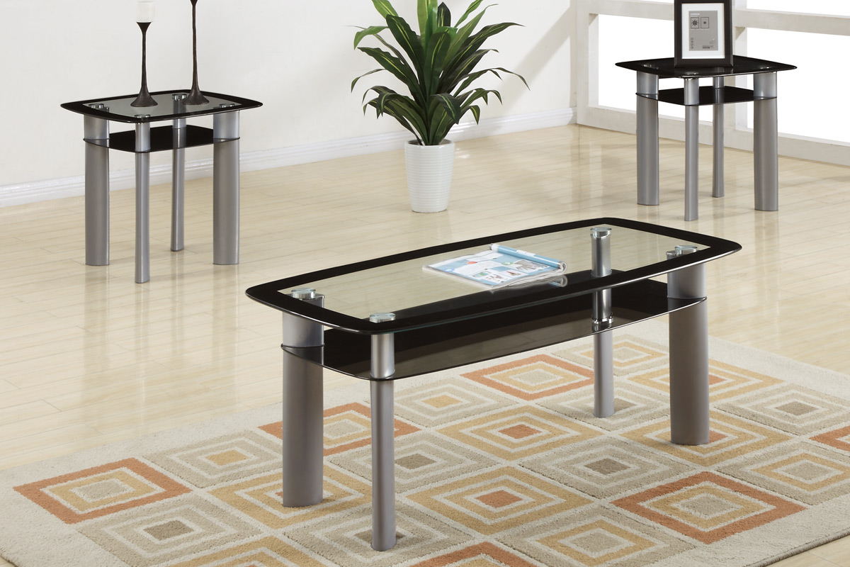 Black coffee table set - 3pcs Pack Coffeeend Table Set End Tables Black Wood Coffee