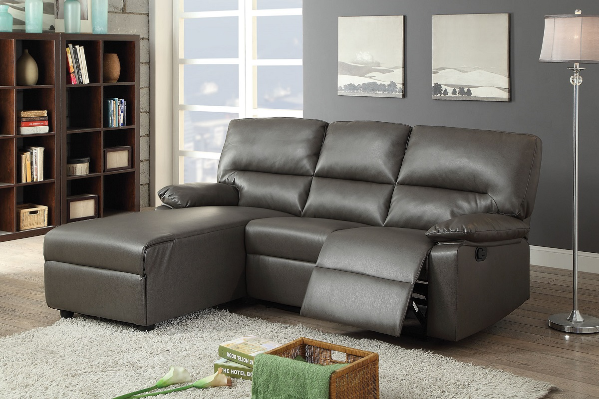 artha gray bonded leather match reclining sectional sofa