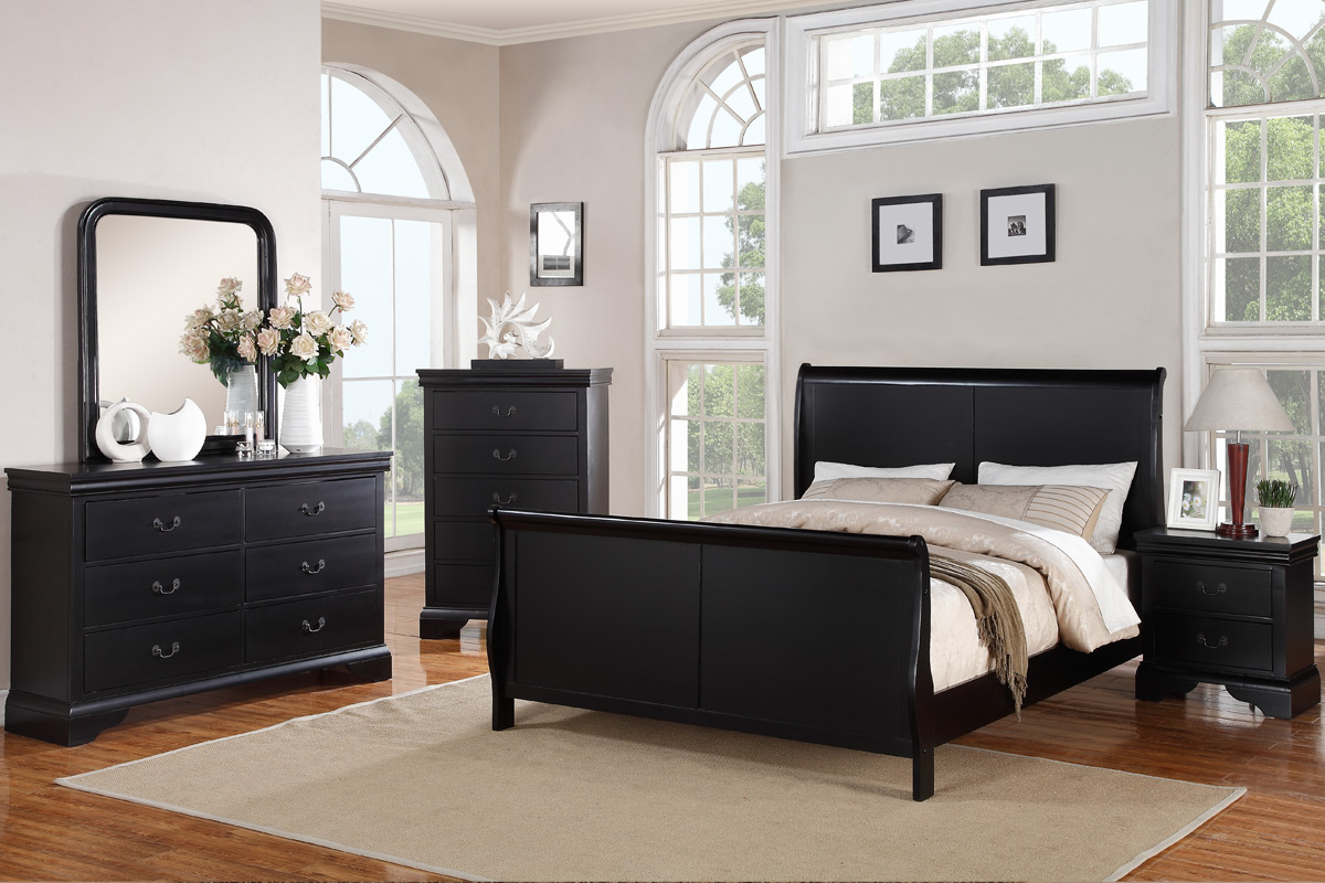 poundex f9230ek black finish eastern king size bed frame