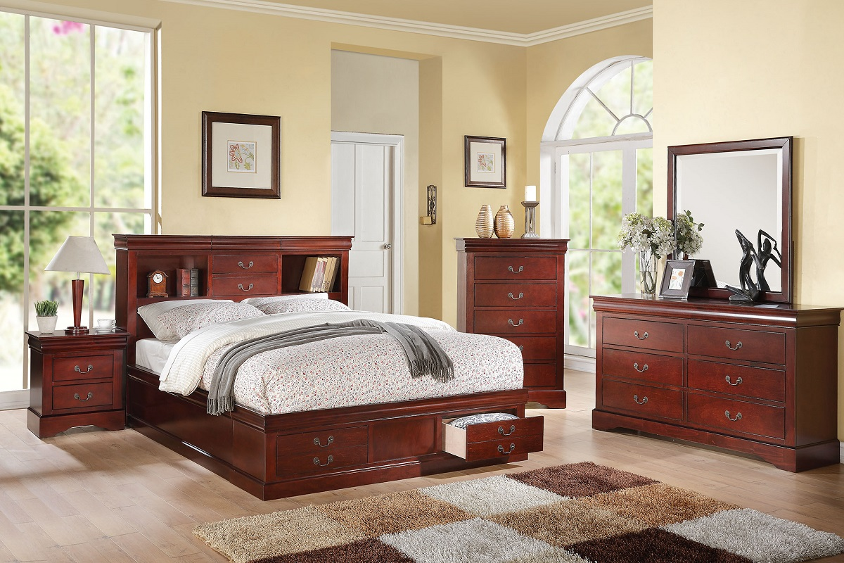 Queen Bed Frames With Storage item 024380q: louis philippe iii cherry finish queen size bed