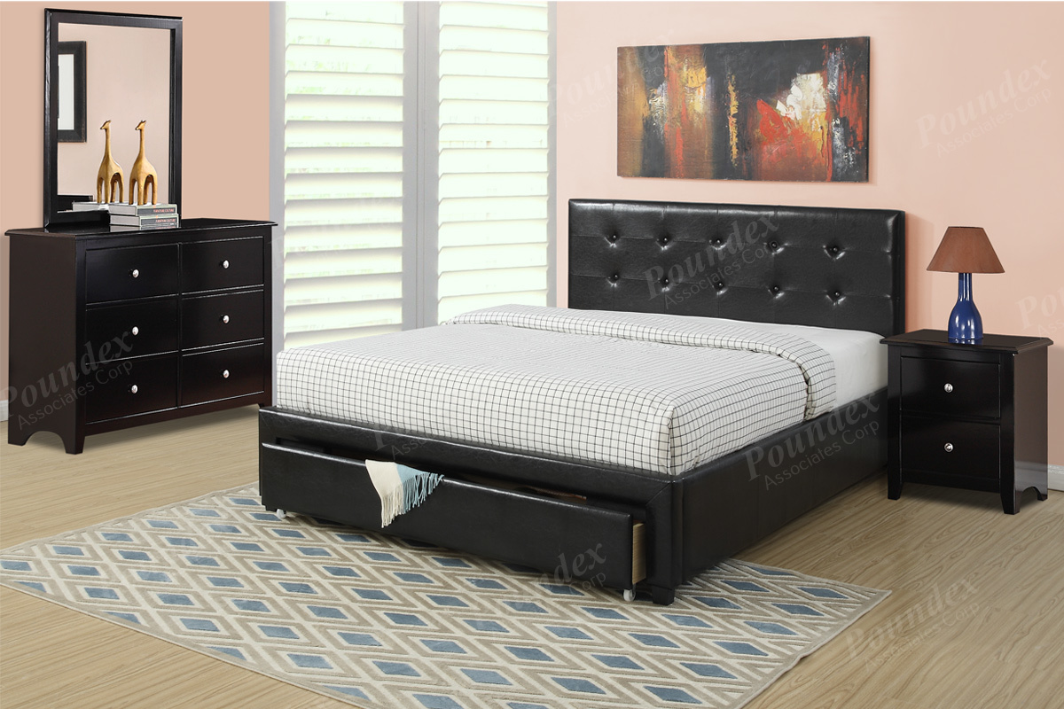 item fq queen size platform bed frame w underbed drawer - queen size platform bed frame w underbed drawer