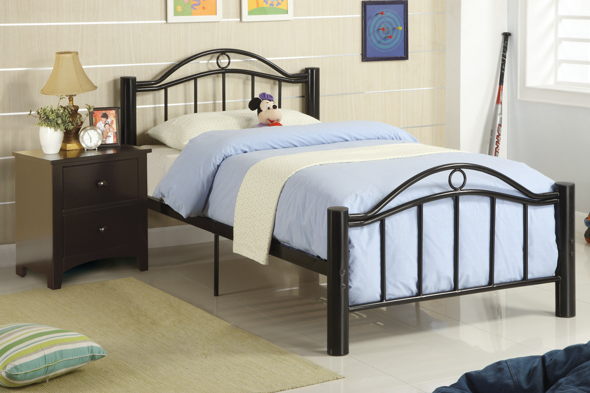 poundex f9010t black metal twin size bed frame