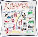 Handmade Embroidered Atlanta Geography Pillow
