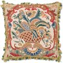 Aubusson Savonnerie II Floral Needlepoint Pillow