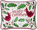 Embroidered Cardinal Merry Christmas Pillow
