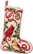 Cardinal Needlepoint Christmas Stocking