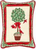 Christmas Topiary Needlepoint Pillow