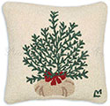 Christmas Tree Decorative Hooked Pillow
