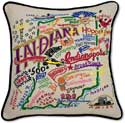 Decorative Embroidered Indiana Geography Pillow