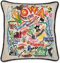 Decorative Handmade Geography Iowa Pillow