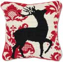 Decorative Needlepoint Reindeer Christmas Pillow