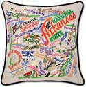 Embroidered Handmade Arkansas Geography Pillow