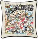 Embroidered Handmade Geography Massachusetts Pillow