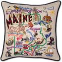 Embroidered Maine Geography State Pillow