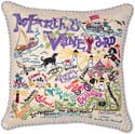 Embroidered Massachusetts Marthas Vineyard Pillow