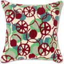 Fancy Ornaments Hooked Christmas Pillow